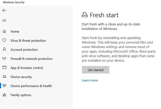 24. Reset Windows 10