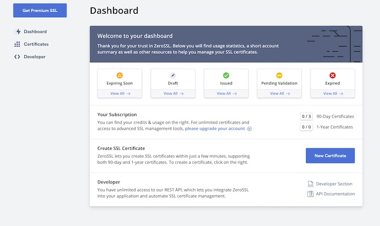 ZeroSSL - Generating SSL certificate 1