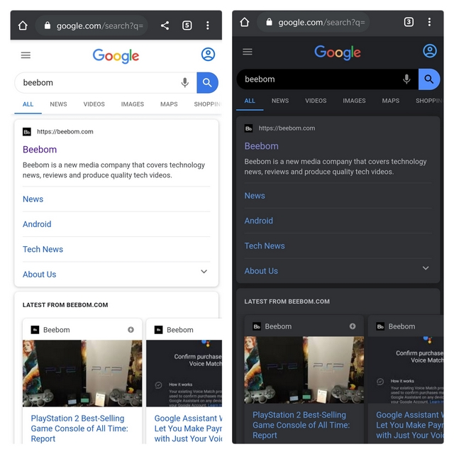 chrome canary search dark theme
