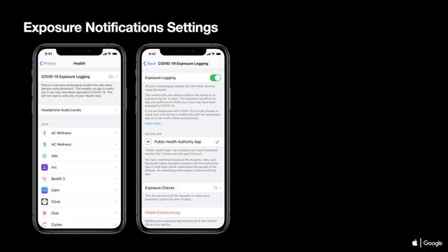 exposure notifications settings ios