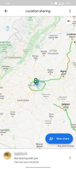 google maps location sharing ui