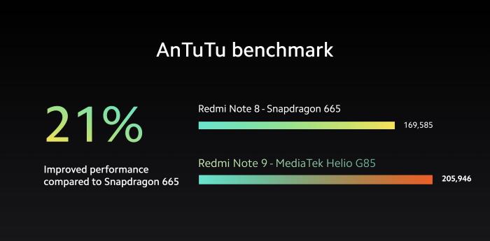 redmi note 9 - mediatek g85 - antutu benchmark