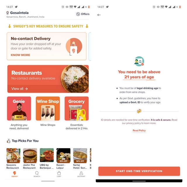 swiggy alcohol delivery ui
