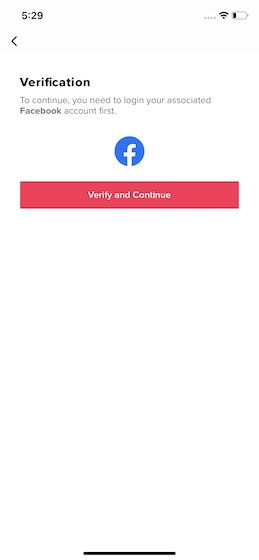 verify and continue