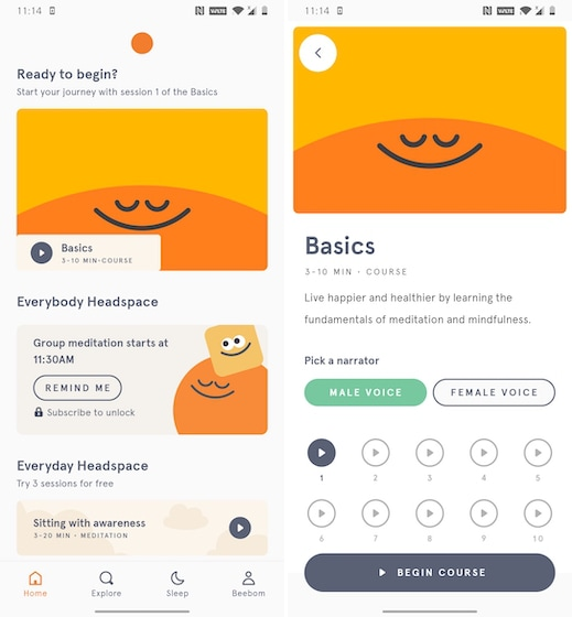 1. Headpsace - Best Guided Meditaiton Apps