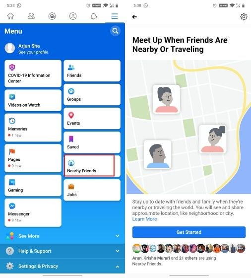 19. Check out nearby people and places (App only)