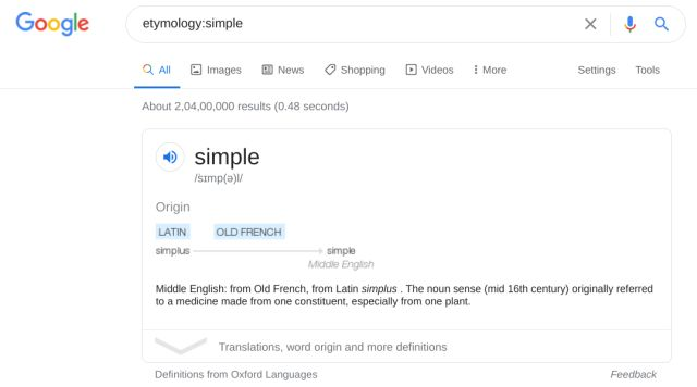 Find Origins of Words