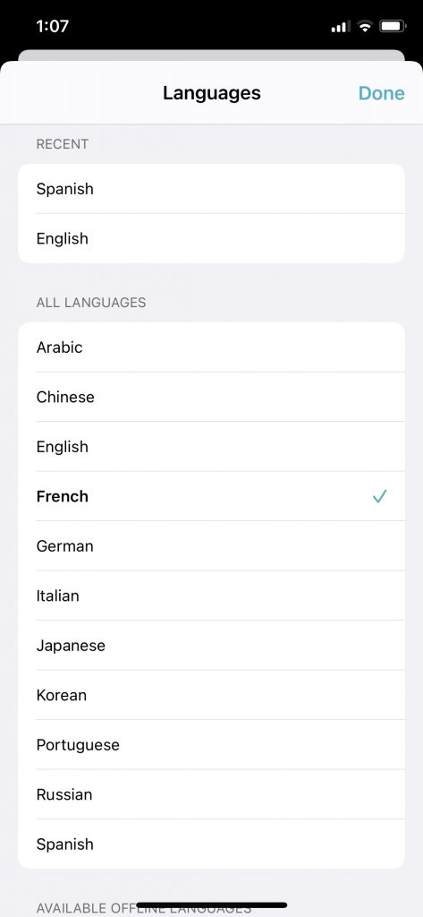Apple Translate Lanugage Support