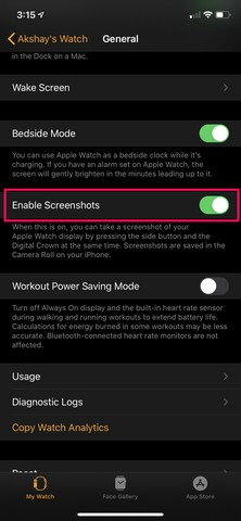 Apple Watch screenshot annotated 1