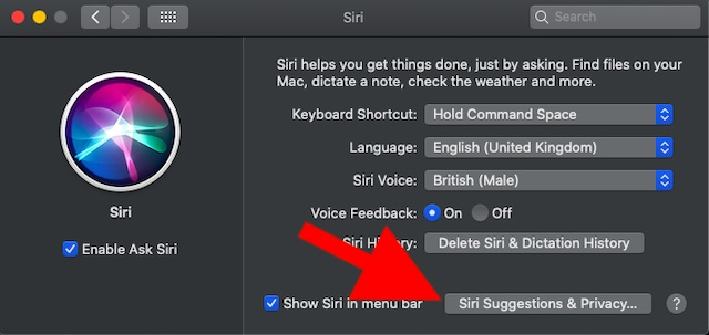 Click on Siri suggestions & Privacy