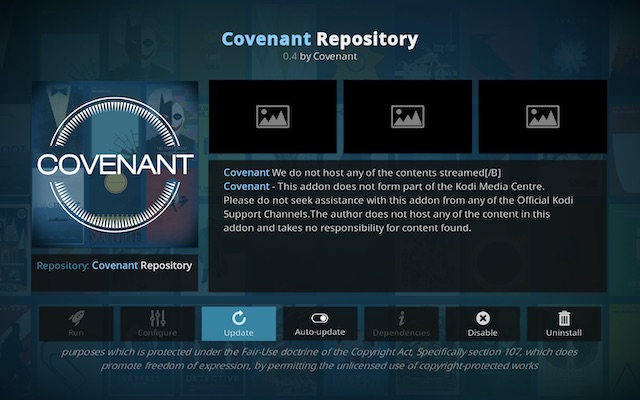 Convenant Kodi add-on