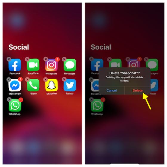 Delete apps in App Library