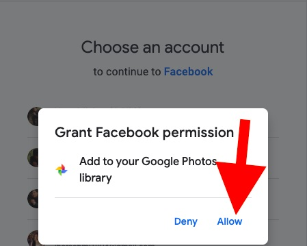 Accordez la permission à Facebook