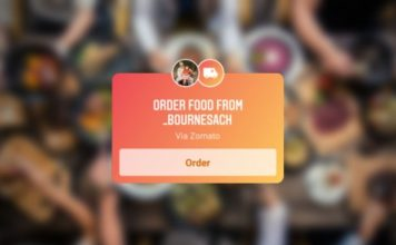 Instagram food order sticker - zomato - swiggy