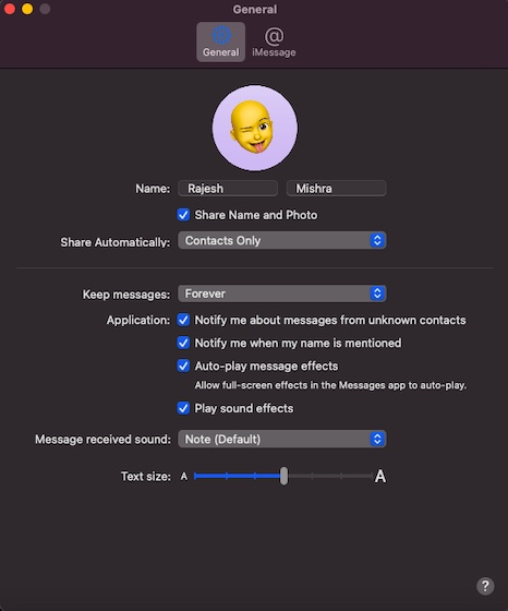 Name and photo sharing on iMessage