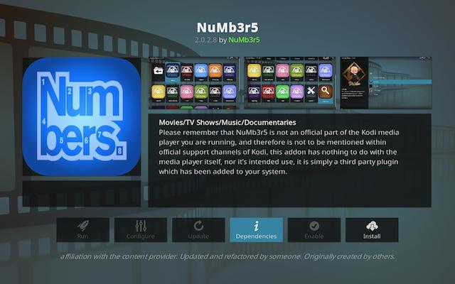 Numbers Kodi add-on
