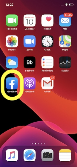 Open Facebook app on your device