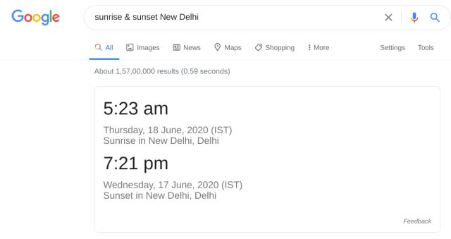 Get Sunrise and Sunset times