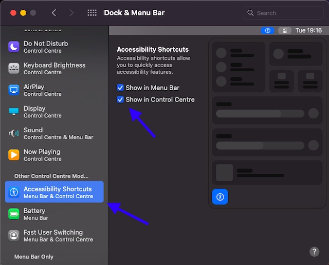 Show Accessibility Shortcuts in Control Center and Menu Bar on Mac