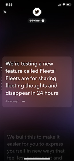 Twitter Fleets UI