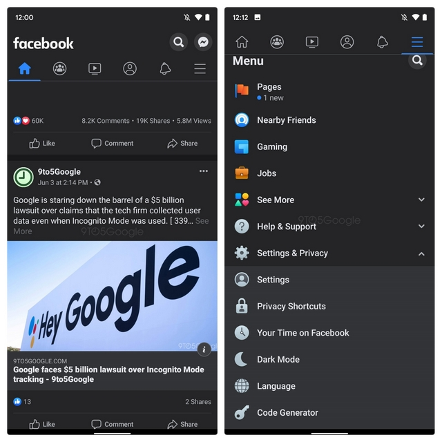 facebook android dark mode