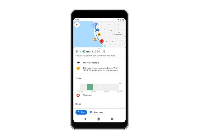 google maps border alert