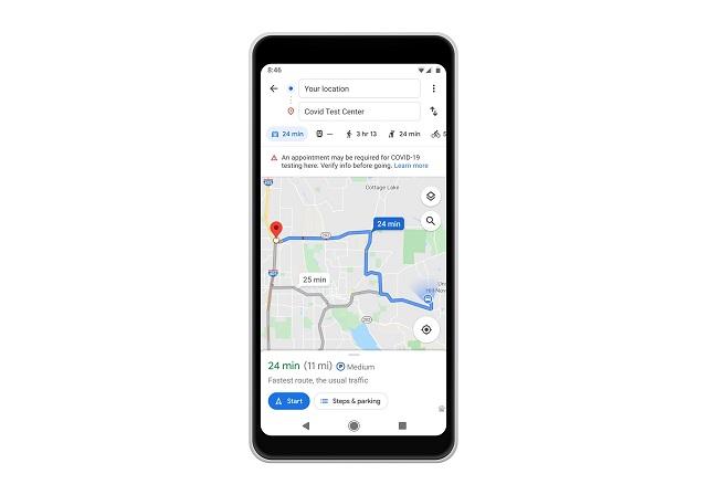 google maps covid test