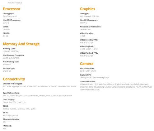 mediatek helio g35 specs sheet