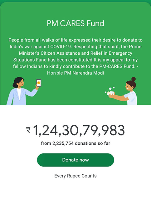 PM CARES Fund Has Received Over 124 Crores in Donations Just via Google Pay