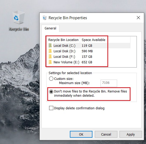Bypass Recycle Bin and Delete Files Directly on Windows 10