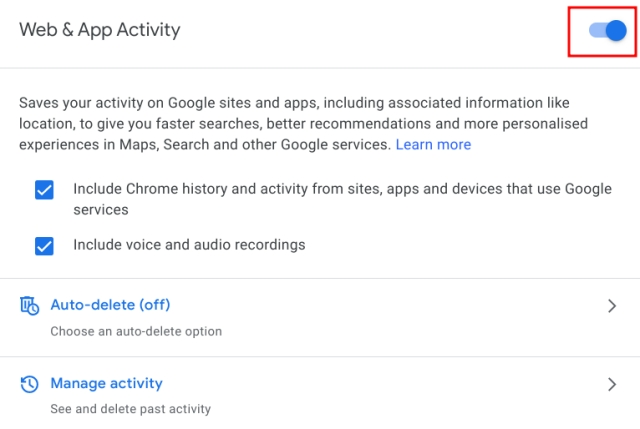 Auto-Delete Web and Location History on Google