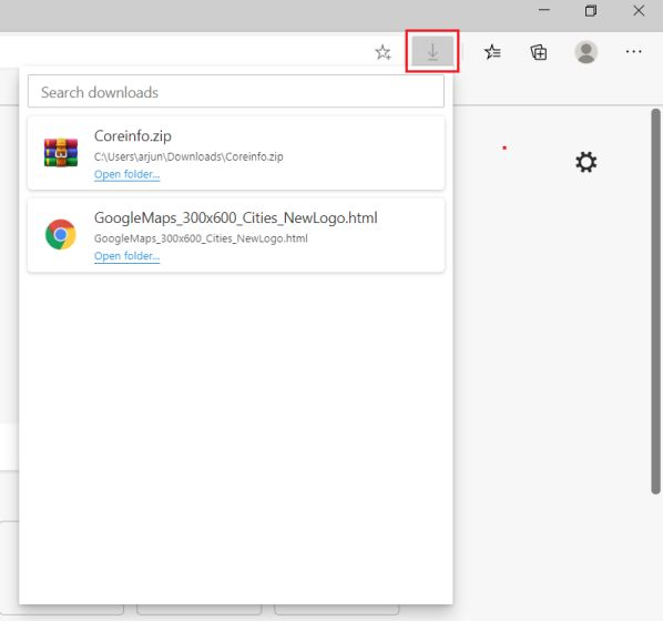 Add a Download Menu on Microsoft Edge