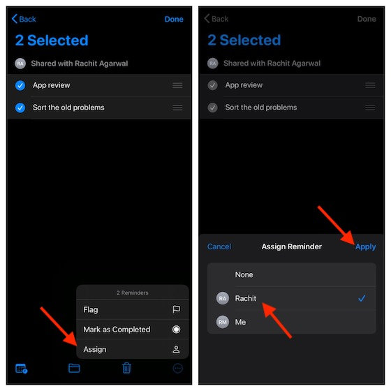 Assign multiple reminders at once