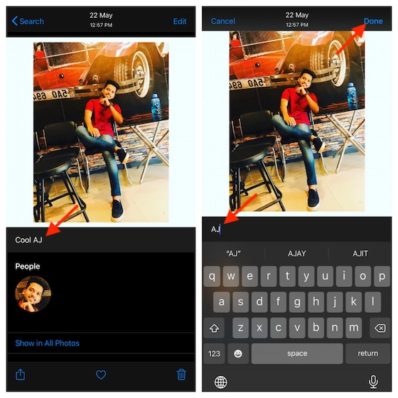 Edit caption in photos and videos on iPhone or iPad