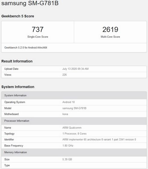 Possible Galaxy S20 Lite With Snapdragon 865 Spotted on Geekbench
