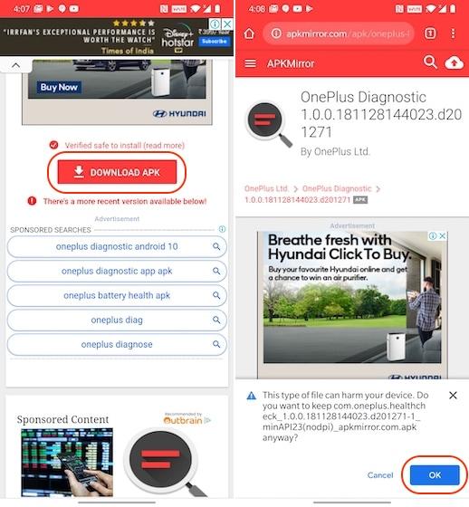 Install OnePlus Diagnostic App