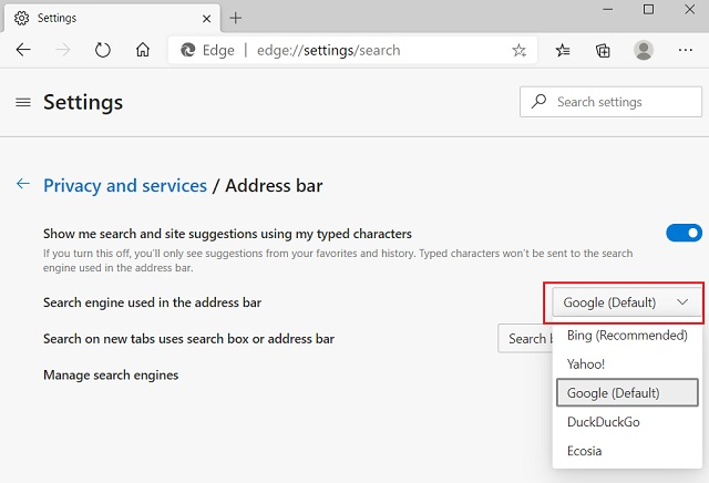 How to Change the Default Search Engine on Microsoft Edge