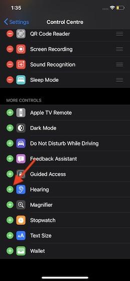 Select Hearing option