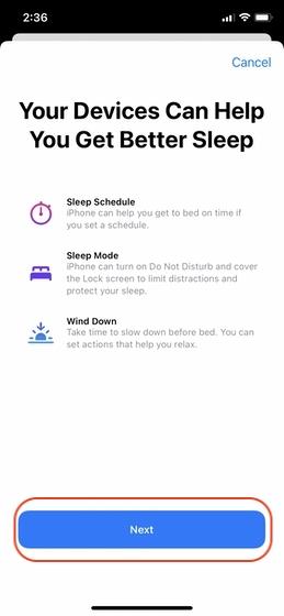 Richten Sie Sleep Tracking auf Ihrem iPhone 3 ein