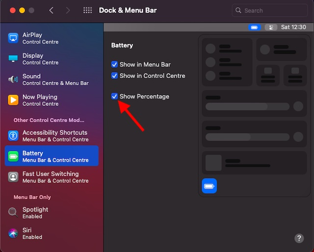 Show battery percentage in macOS Big Sur