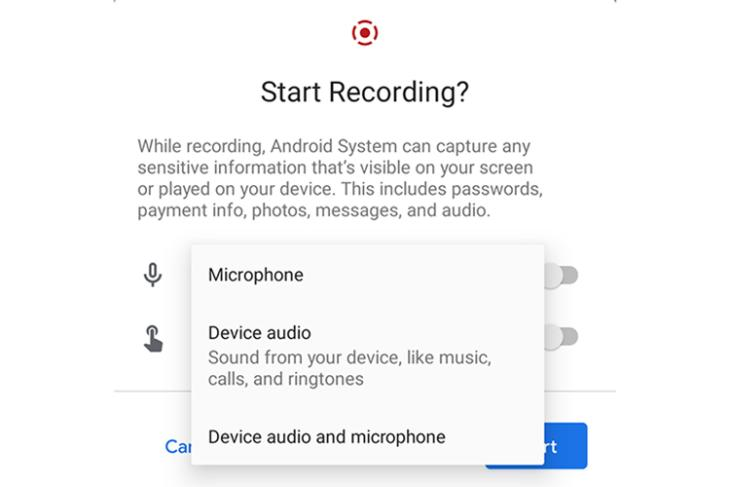 android 11 screen recorder internal audio