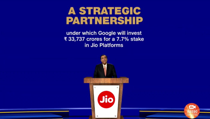 Google Picks Up 7.7% Stake in Jio Platforms for Rs. 33,737 Crores