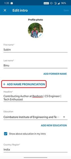 linkedin add pronunciation