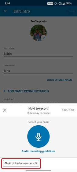 linkedin pronunciation privacy