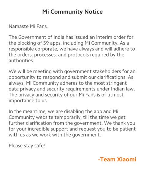mi community statement xiaomi