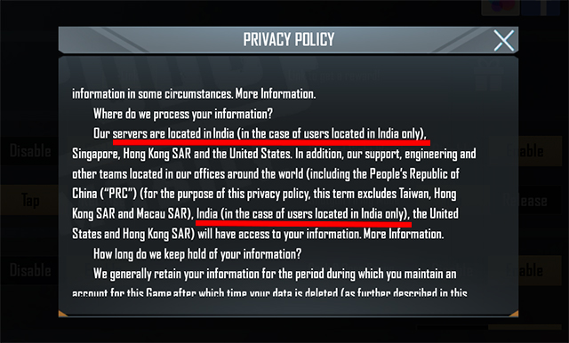 PubG Mobile India Updated Privacy Policy