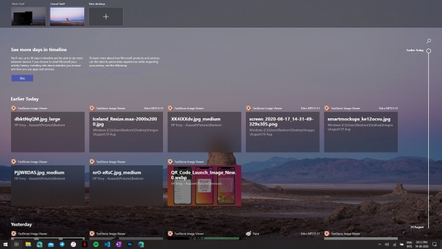 Virtual Desktops and Timeline