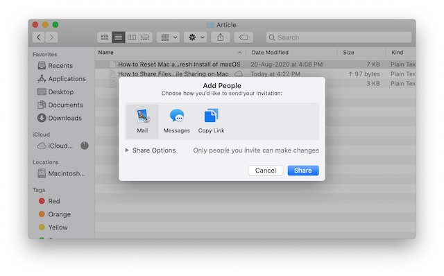 3. Share Files using iCloud File Sharing on Mac