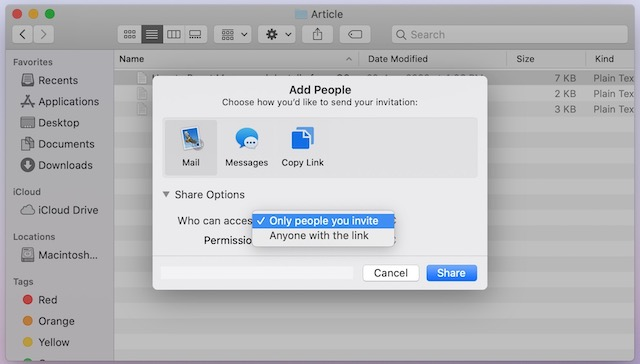 5. Share Files using iCloud File Sharing on Mac
