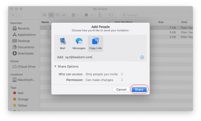 7. Share Files using iCloud File Sharing on Mac